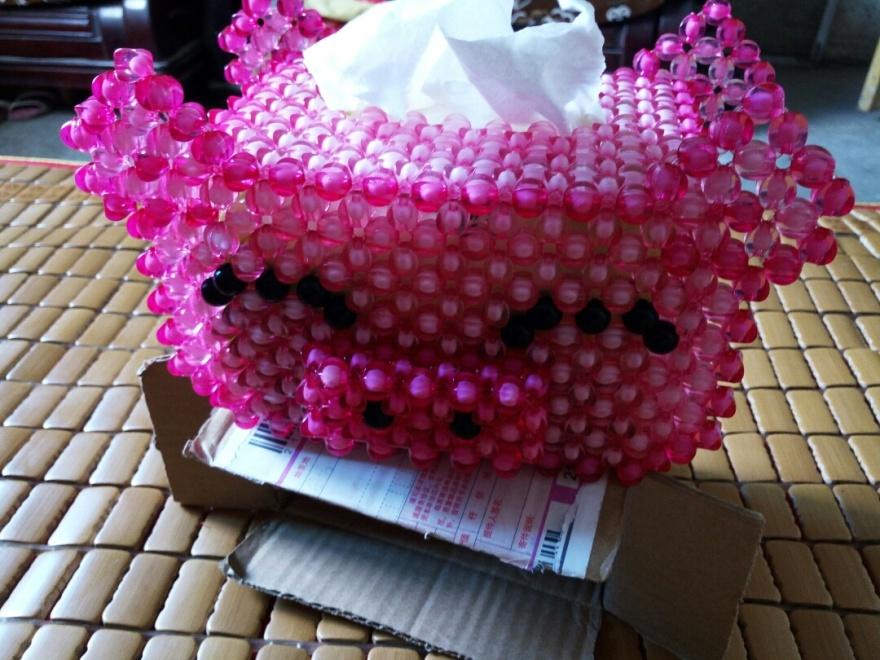 小猪串珠抽纸盒纸巾盒可爱珠中珠