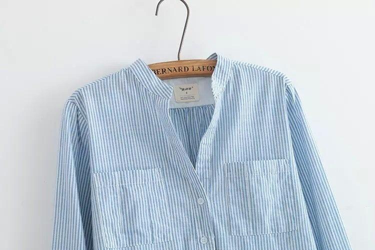 日系文艺小清新条纹长袖衬衫