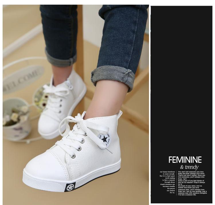 经典韩版儿童帆布鞋 男女童高帮童鞋 系鞋带五角星纯色单鞋图片