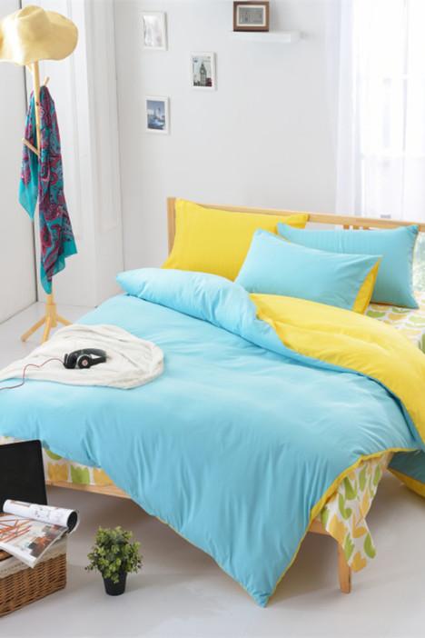 【全棉芦荟棉纯色素色双拼四件套床单被套】-家居-床
