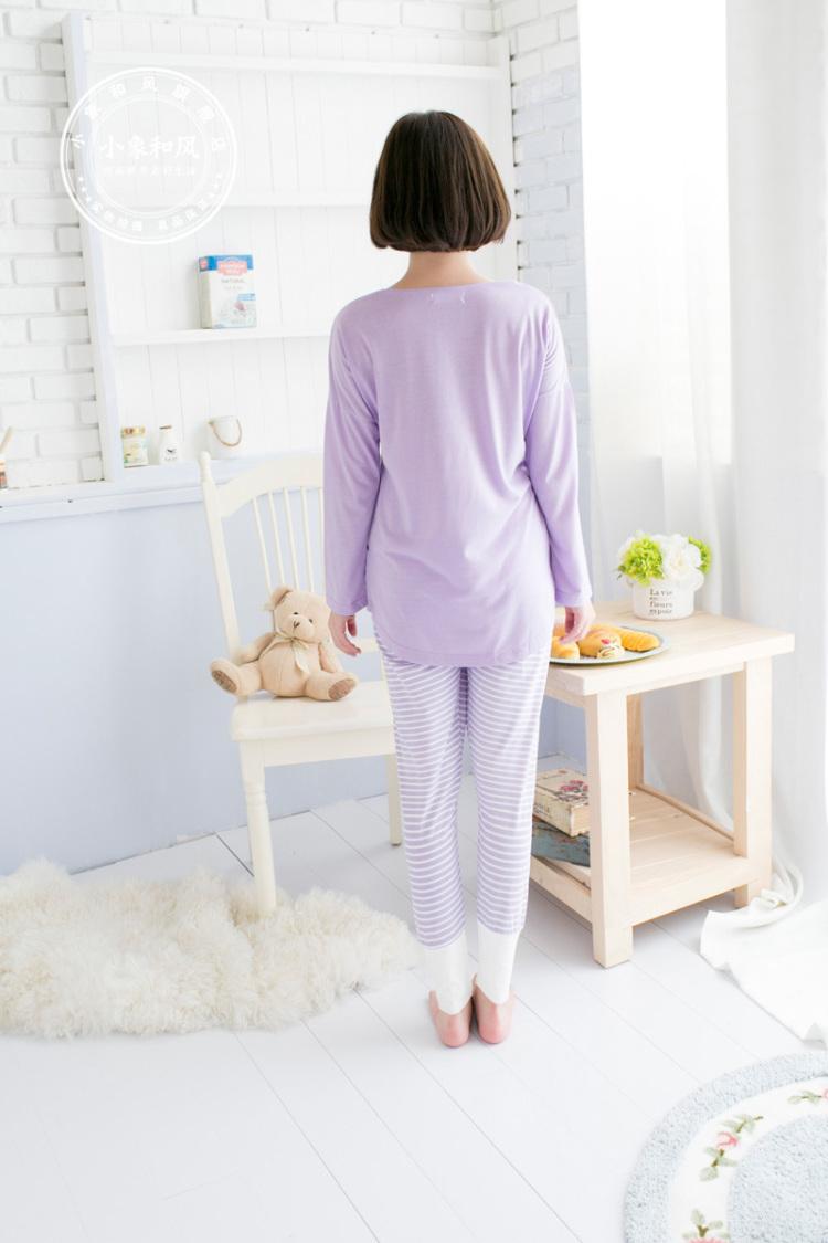 韩国初秋睡衣 简约字母p可爱家居服套装