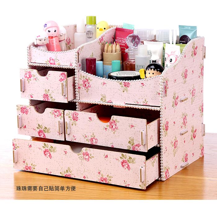 【diy创意木质化妆品收纳盒】-家居-百货