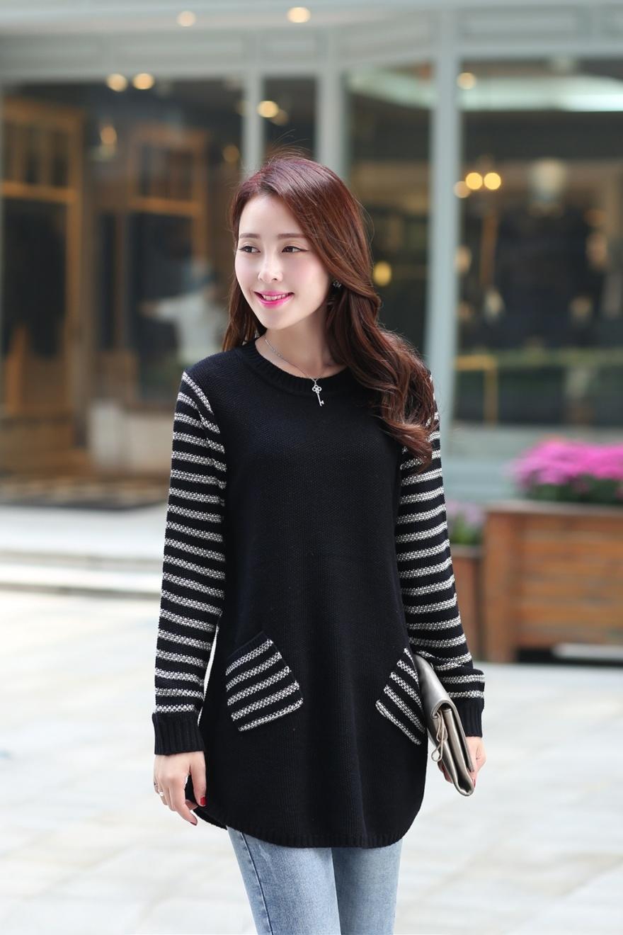娇维安 韩版秋季外套 女装套头衫 条纹毛衣打底衫 拼接针织衫整体款式图片
