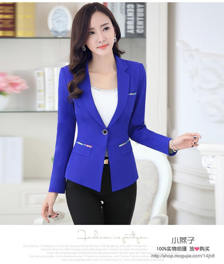 【新款秋韩版女式修身长袖小西装】-衣服-西装_上装
