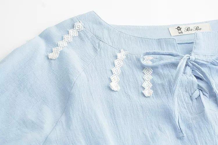 日系小清新森系蕾丝花边系带棉麻长袖衬衫