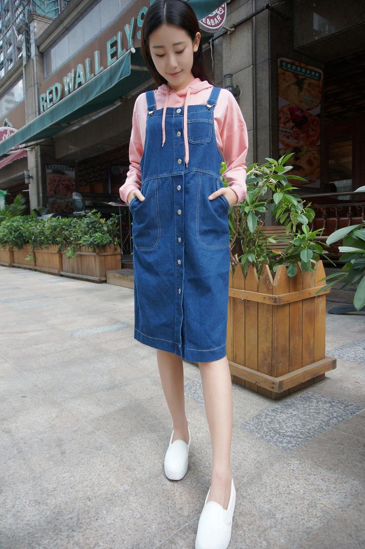 【韩版显瘦修身牛仔背带裙】-衣服-半身裙