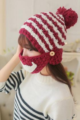 【娜美莲】韩版可爱拼色胡子口罩帽子