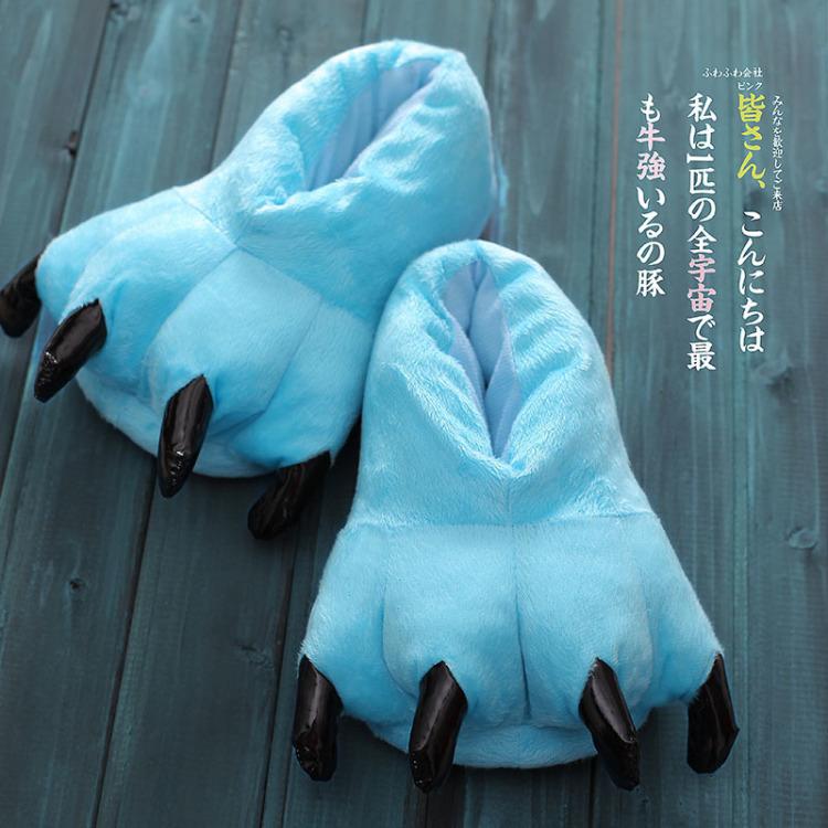 【法兰绒卡通动物配连体睡衣恐龙爪子鞋】-衣服-家居