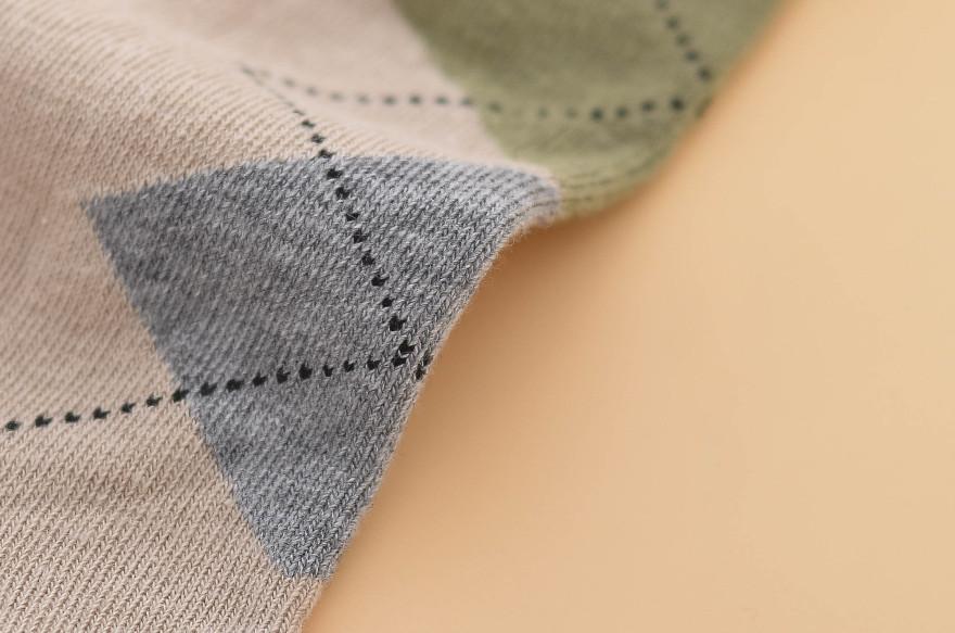 男士纯棉菱形图案隐形袜船袜5双装