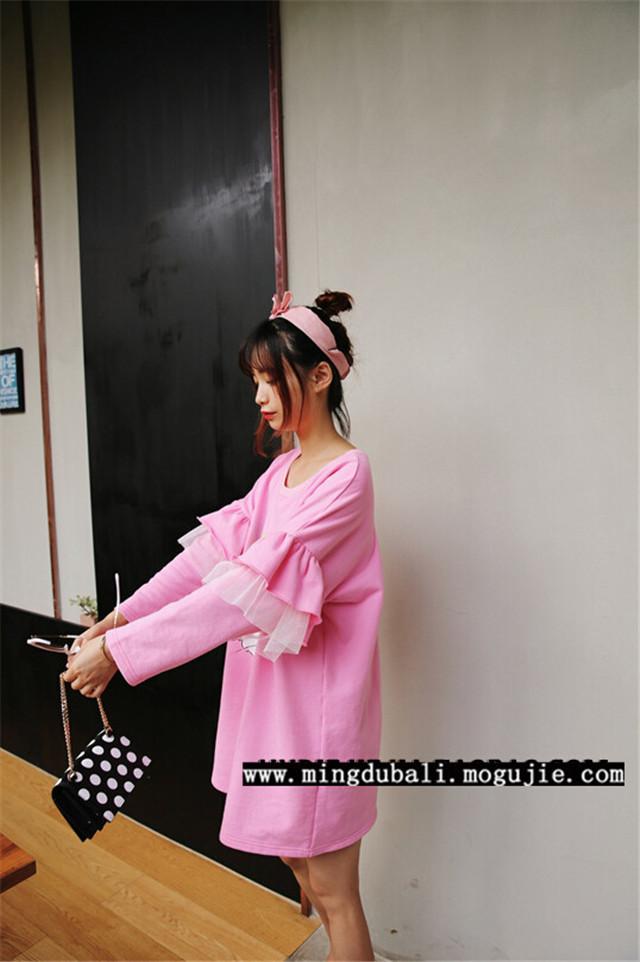 【新品兔八哥花边蕾丝长款t圆领粉色卫衣】-衣服
