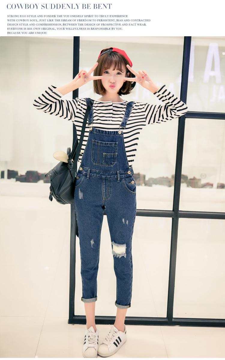 【潮破洞牛仔背带裤】-衣服-裤子