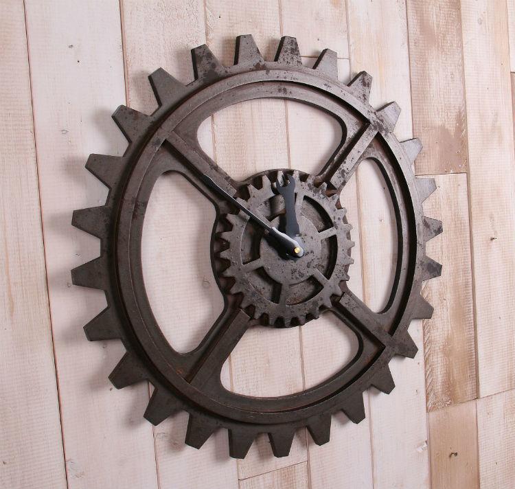 欧式壁挂钟字母+指针仿古铁艺齿轮钟