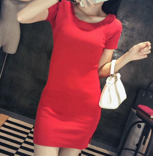 均码(裙长76 袖长21 胸围78) 黑底条纹 白底条纹 黑色 红色