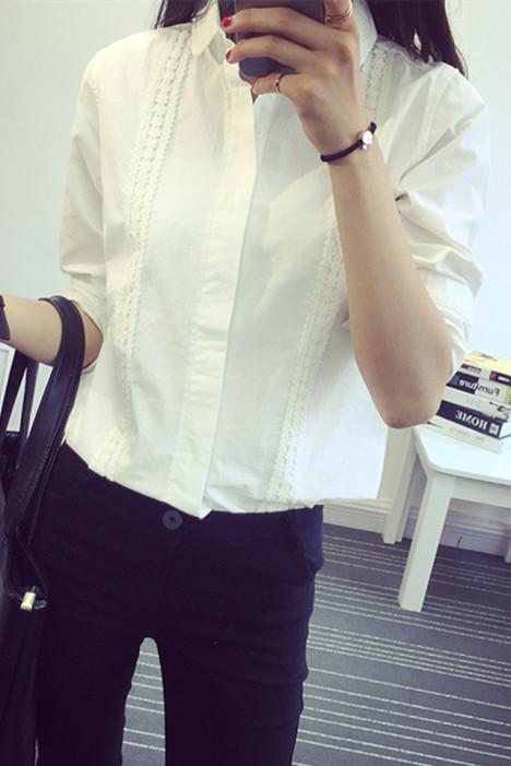 【秋季新款蕾丝花边衬衫】-衣服-衬衫