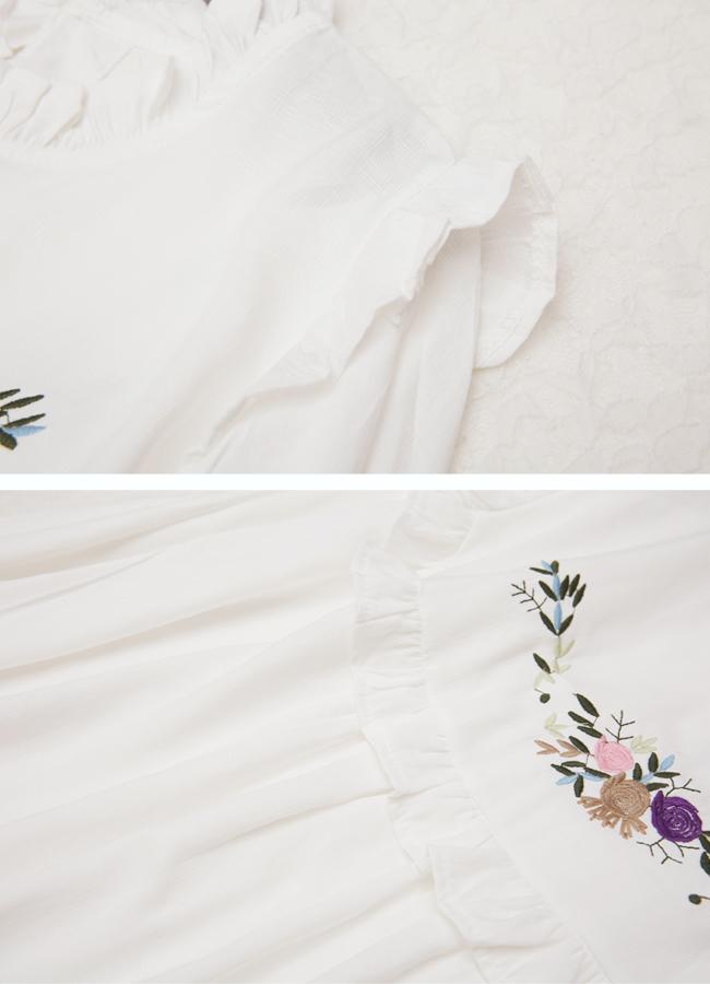 特:森系少女刺绣花朵花边百搭长袖衬衫