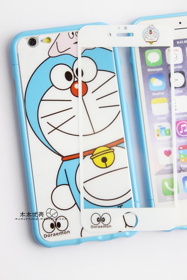 【iphone5/6plus哆啦a梦卡通钢化膜+边框套装手机壳
