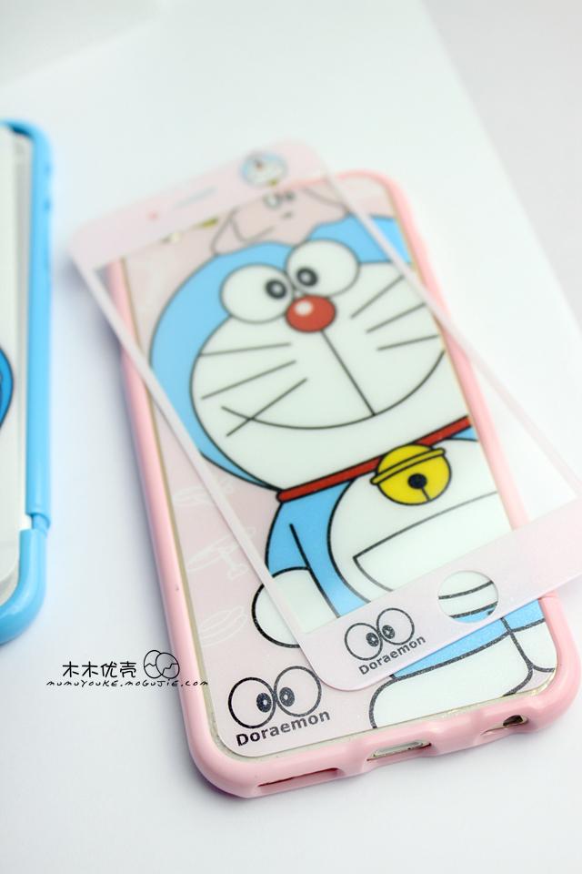 iphone5/6plus哆啦a梦卡通钢化膜 边框套装手机壳