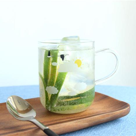 zakka创意玻璃杯耐热玻璃水杯透明可爱杯子牛奶杯果汁杯图片
