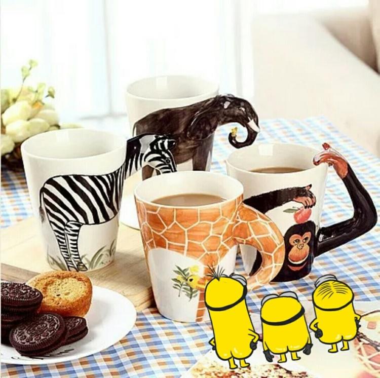 3d立体纯手绘卡通动物陶瓷杯子