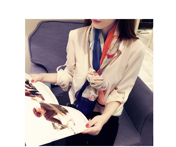 【夏雨家】 走秀款手绘涂鸦旅行必备丝棉防晒围巾丝巾