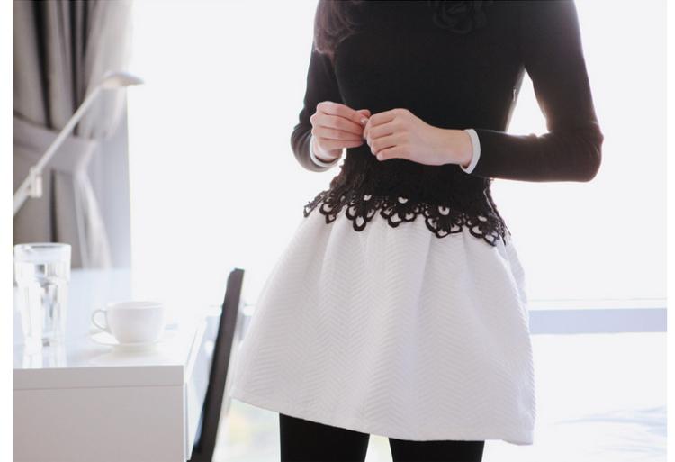 【拼接蕾丝钩花连衣裙】-衣服-连衣裙