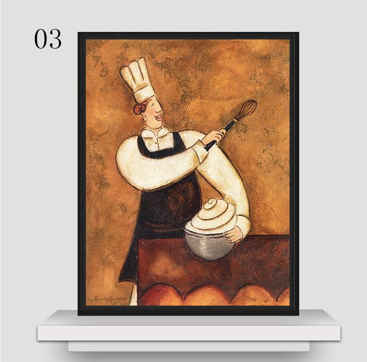 【厨师食物人物欧式装饰画走廊挂画精美咖啡馆壁画茶