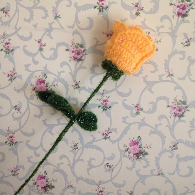 【毛线钩针花单朵玫瑰花】-无类目-其他特色工艺品