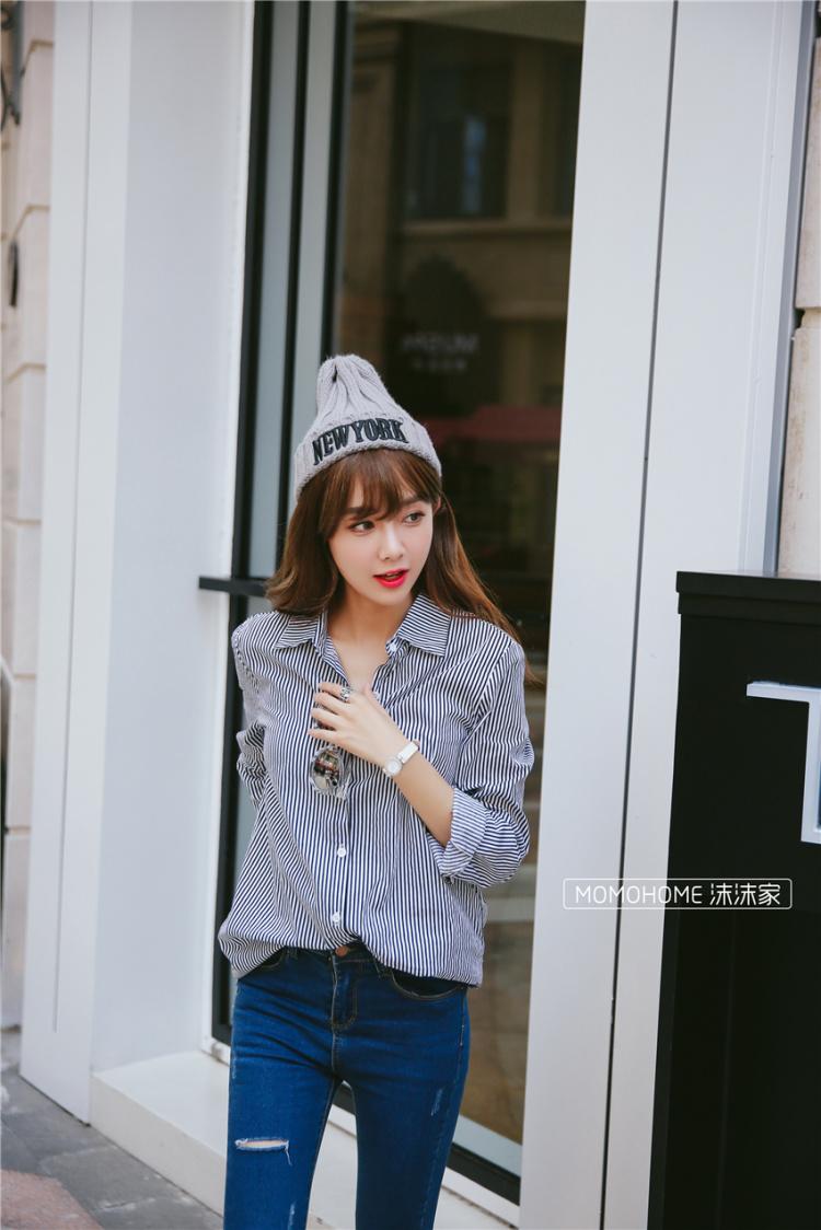 秋季新款韩范黑白条纹百搭衬衫