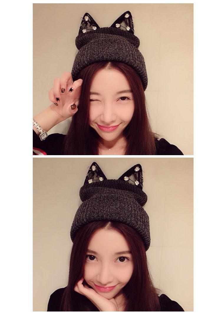 网络红人同款蕾丝水钻可爱猫耳朵毛线帽