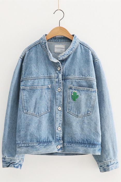 【学院风仙人掌刺绣宽松牛仔外套】-衣服-牛仔外套