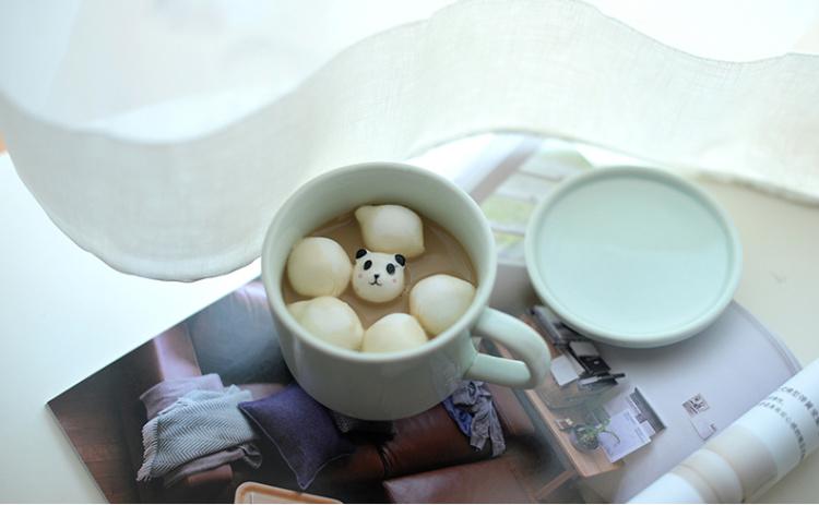 杯底动物咖啡杯 立体陶瓷杯 可爱卡通创意杯子青瓷水杯 带盖勺