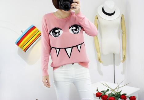 【秋冬甜美可爱眼睛牙齿卡通针织衫】-毛衣
