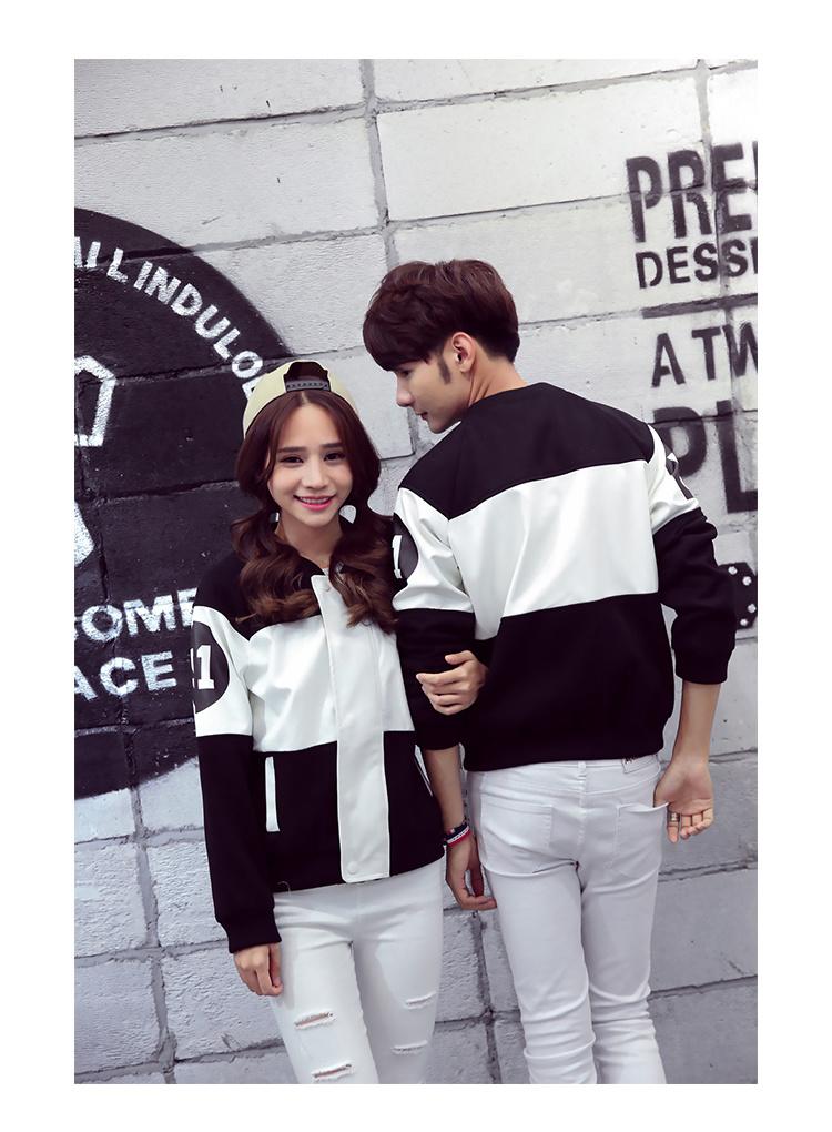 【gd权志龙同款黑白拼接情侣棒球服】-衣服-棒球外套