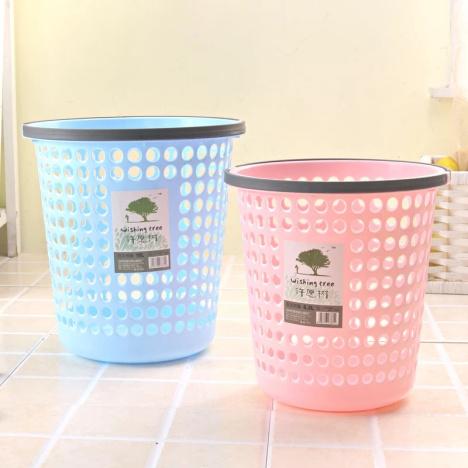 【压边垃圾桶 厨房家用垃圾筒镂空】-百货