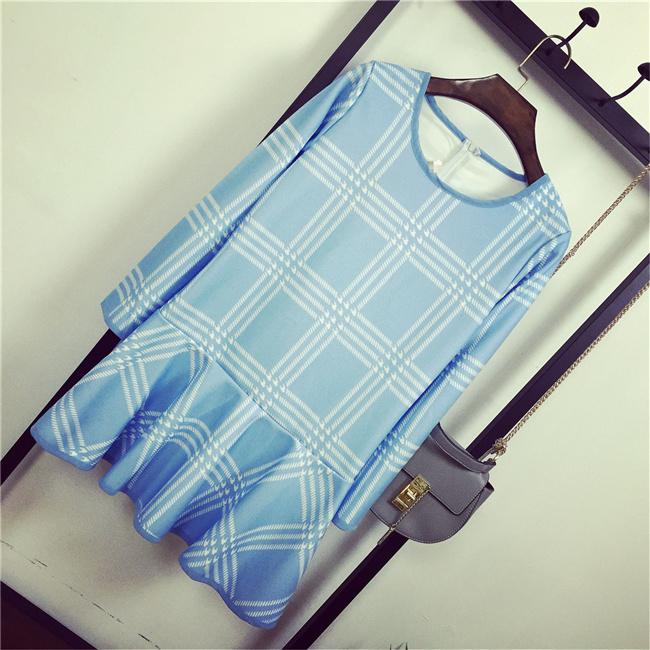 韩国小清新网格长袖连衣裙