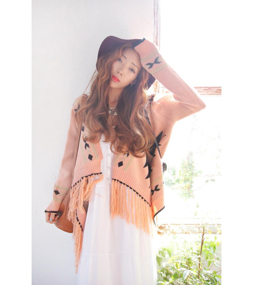 2015新款女装秋装 韩国代购气质流苏边撞色不规则披肩款外套