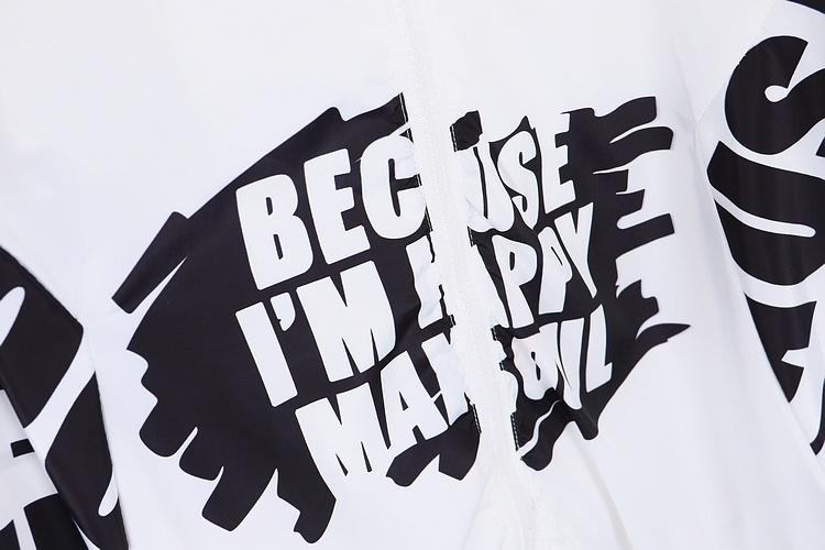 原创原宿欧美风英文字母数码印花涂鸦棒球风衣薄外套