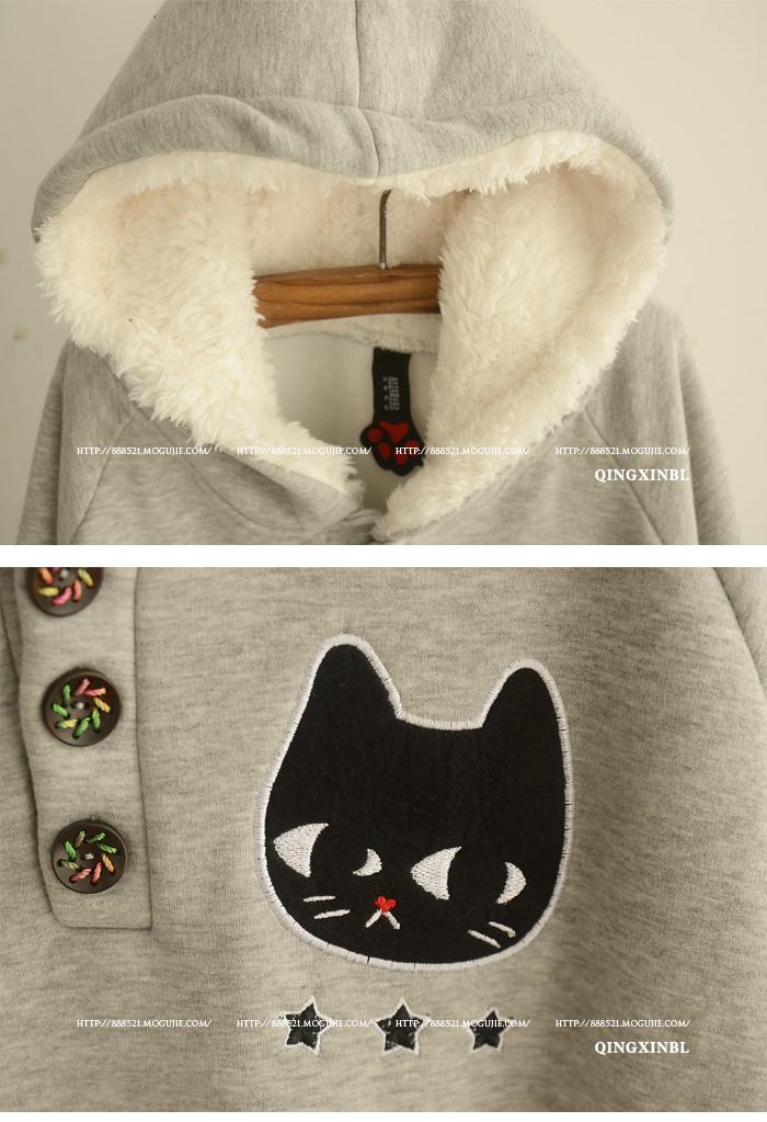 冬季新款 连帽可爱猫咪贴布加绒棉斗篷