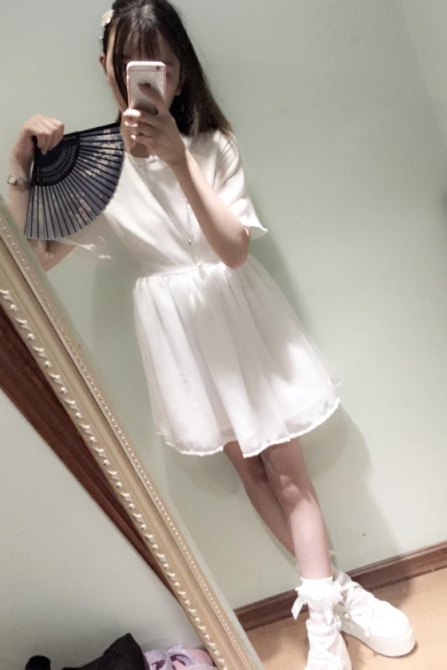 纯白少女花边玉兰汉元素古风清新夏日飘逸连衣裙