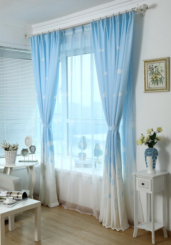 天空之城韩式窗帘布小清新客厅卧室半遮光窗帘布料