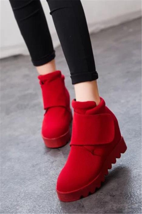【韩版内增高厚底魔术贴高帮帆布鞋】-鞋子-帆布鞋