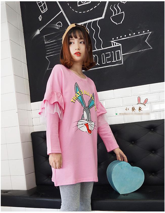 【兔八哥蕾丝花边粉色卫衣+灰色打底裤套装】-衣服