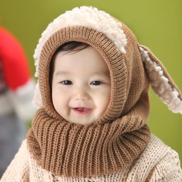 秋冬款可爱小狗儿童帽子围脖连体毛线保暧