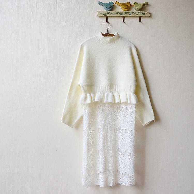 【秋装新款刺绣蕾丝拼荷叶针织连衣裙】-衣服-裙子