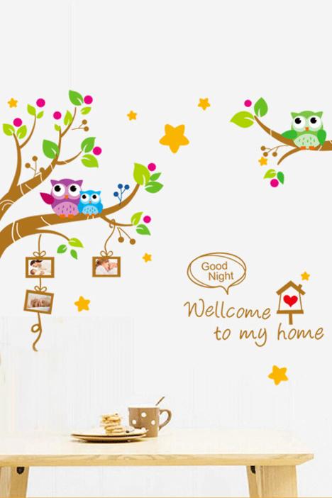 儿童房,幼儿园,可爱,照片框,照片墙,猫头鹰,星星,植物,花树