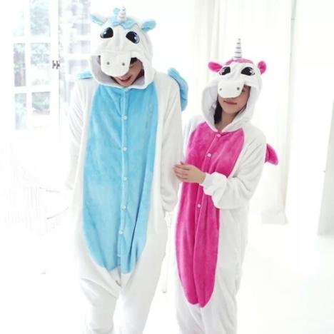 【法兰绒蓝独角兽动物连体睡衣卡通冬季长袖珊瑚女版
