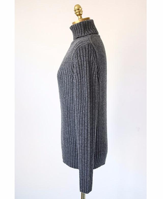 chuu-大爱款条纹肌理高领针织衫