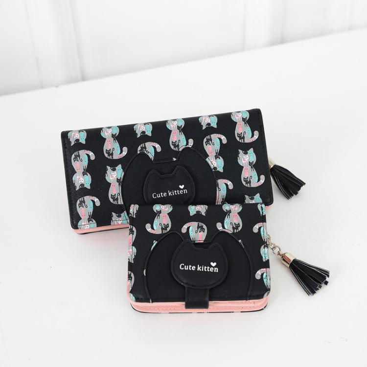 【【韩国】韩国可爱小猫咪女钱包】-包包-女包_钱包