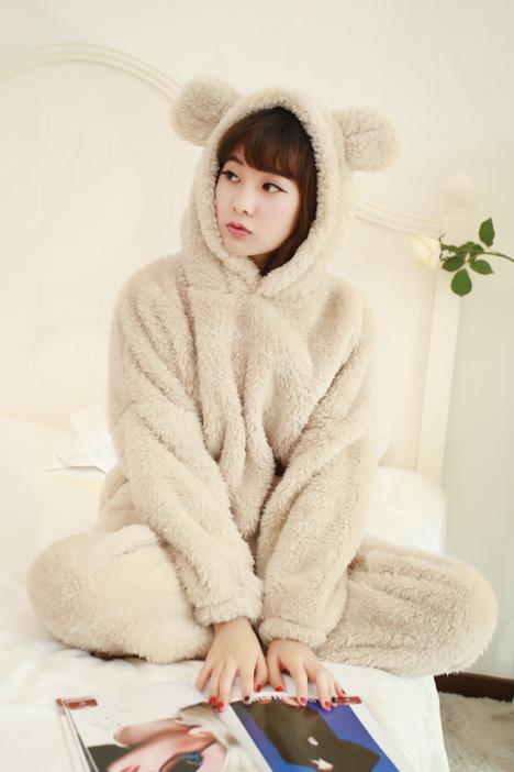 【韩国加厚长毛绒可爱小熊睡衣套装】-内衣-女士内衣
