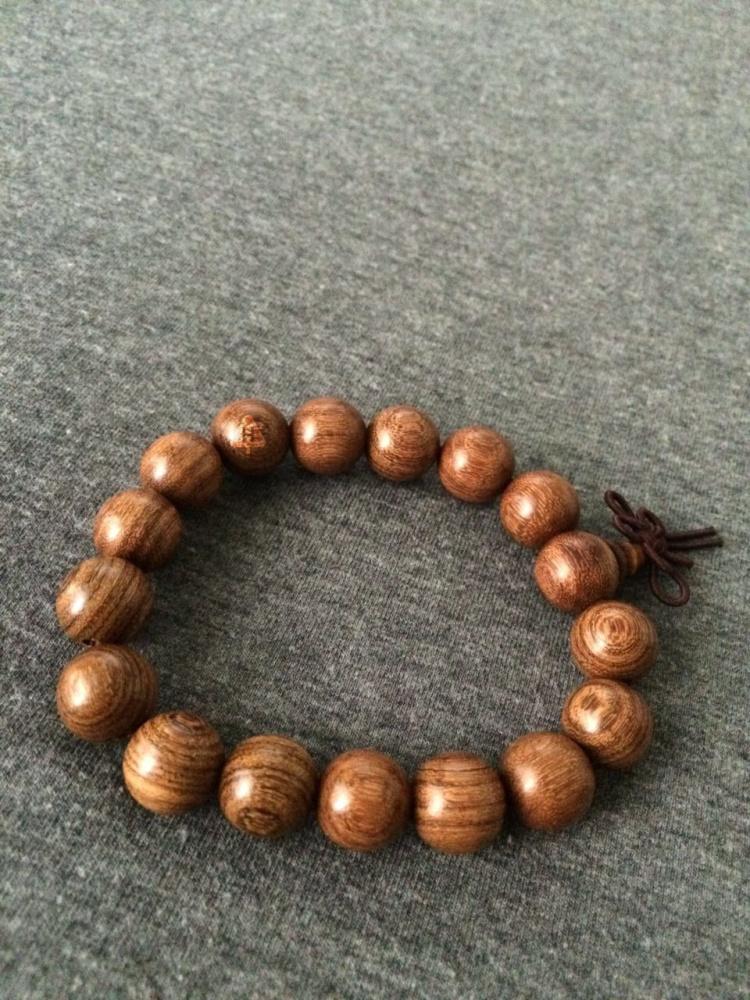 h2 - 天然金丝檀木串珠 12mm单圈中国结佛珠手串